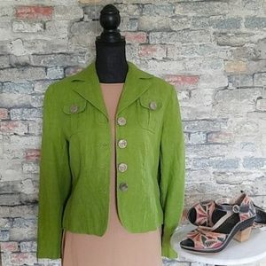 HARVE BERNARD Green Button Up Linen Blazer